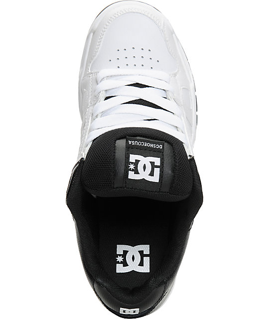 DC Stag White, Black & White Leather Skate Shoes