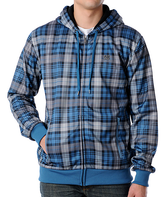 DC Stallion Blue Plaid Tech Fleece Jacket