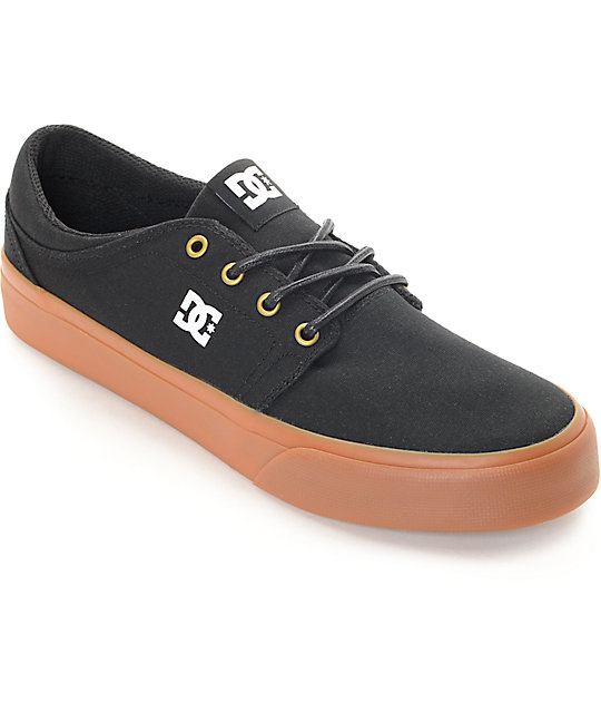 DC Trase Black Canvas, Gold & Gum Skate Shoes