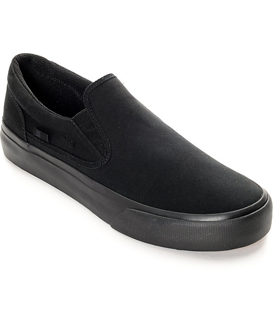 DC Trase Black Canvas Slip On Shoes