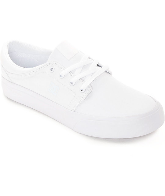 DC Trase White Canvas Skate Shoes