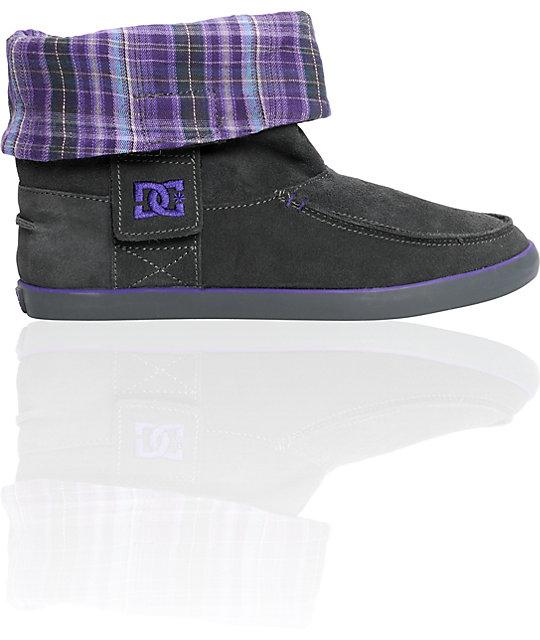 DC Twilight Black & Purple Plaid Boot