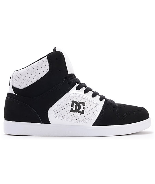 DC Union Hi Black Suede & White Leather Skate Shoes