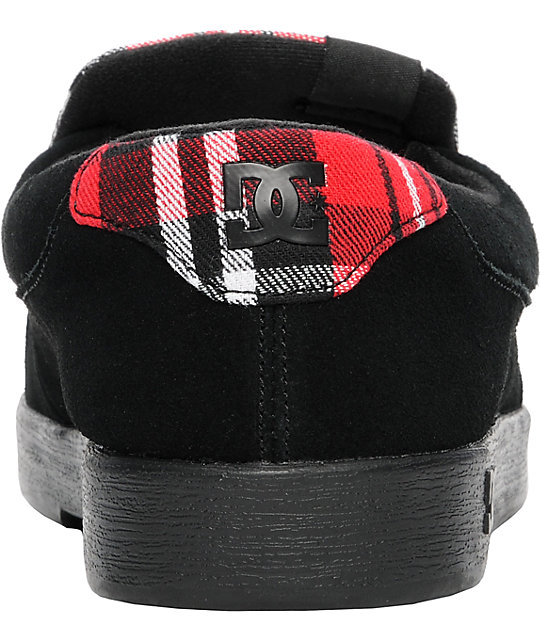 DC Villain Black & Red Plaid Slippers