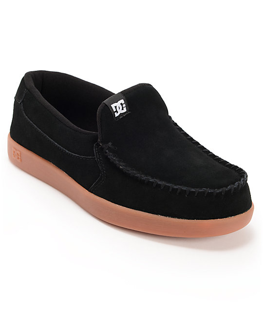 DC Villain Black Suede & Gum Slippers