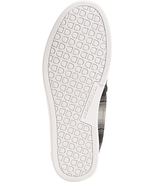 DC Villain TX Black & White Plaid Slip-on Shoes