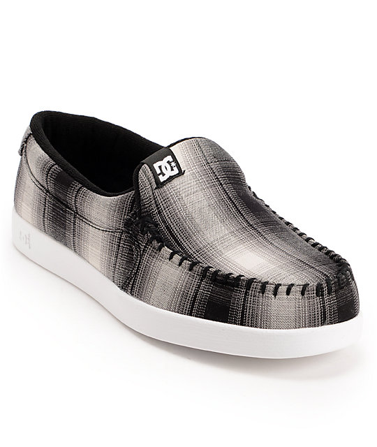 DC Villain TX Black & White Plaid Slip-on Shoes