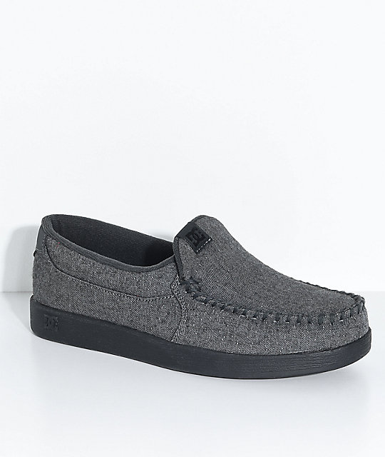 DC Villain TX Dark Grey & Black Slip-On Shoes