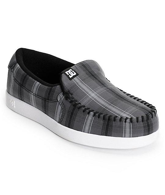 DC Villain TX Dark Grey Plaid Slippers