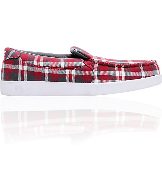 DC Villain TX Red Plaid Slippers