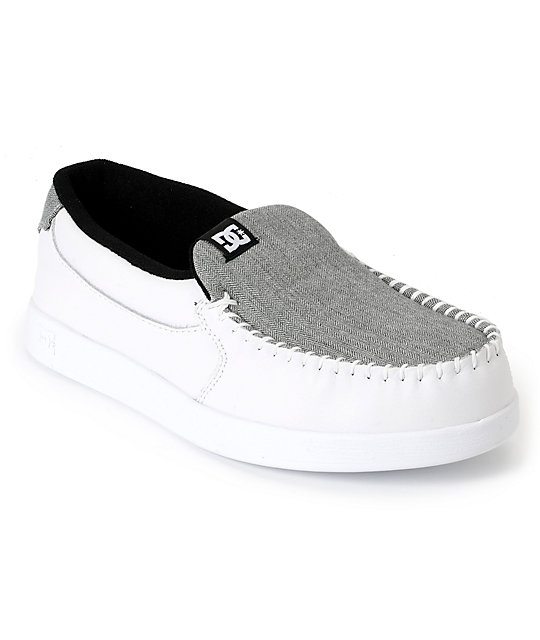 DC Villain White & Grey Herringbone Slippers