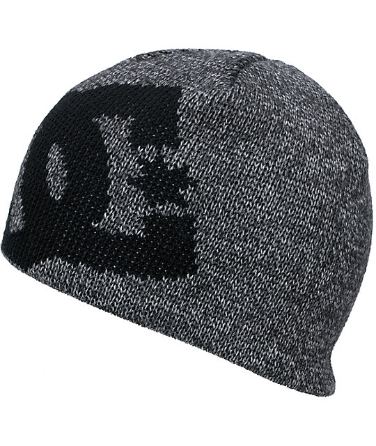 DC Wane Heather Grey & Black Beanie