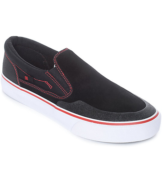 DC x Baker Trase Slip-On S RT Black & Red Skate Shoes