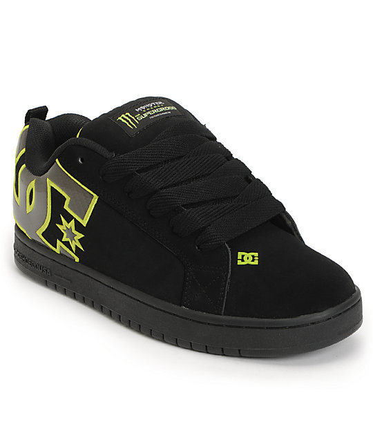 DC x Monster Court Graffik SX Black & Lime Skate Shoes