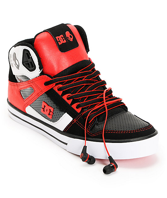 DC x Skullcandy Spartan Hi WC Black & Red Shoes at Zumiez : PDP