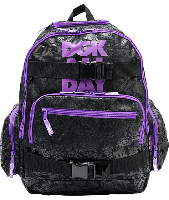 DGK All Day 2 Black & Purple Laptop Backpack