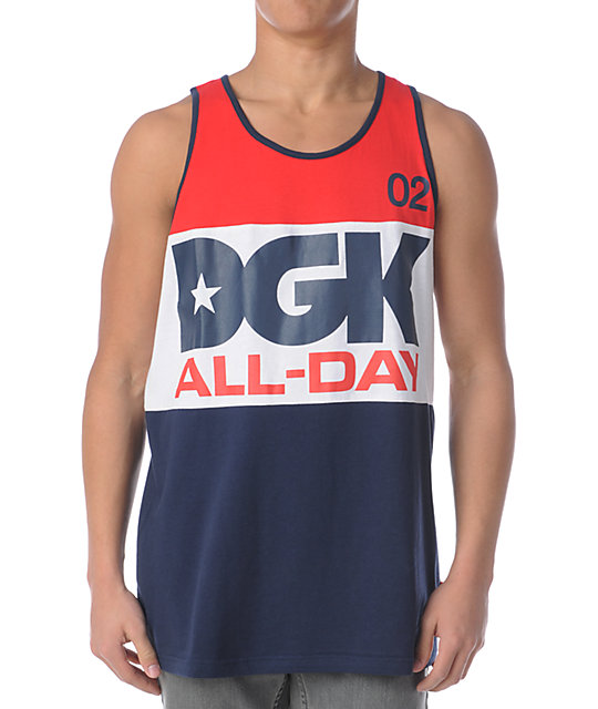 DGK All Day Sport Red, White & Blue Tank Top