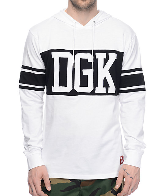 DGK Arena White & Black Hooded Long Sleeve Knit T-Shirt