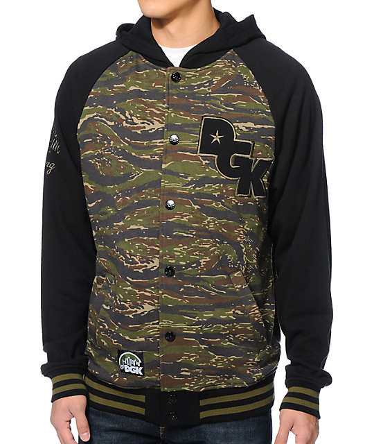 DGK Big League Tiger Camo Hooded Fleece Varsity Jacket