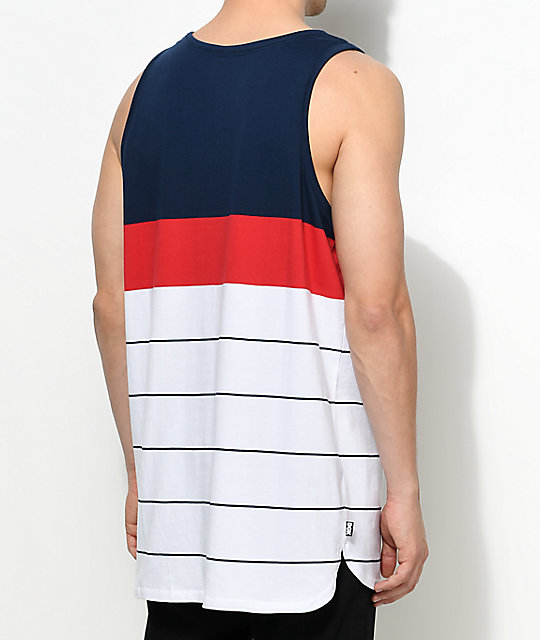 DGK Channel Sport Blue, Red & White Tank Top