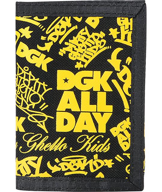 DGK Classic Black & Yellow Tri-Fold Wallet