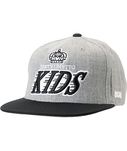 DGK Crown Heather Grey & Black Snapback Hat