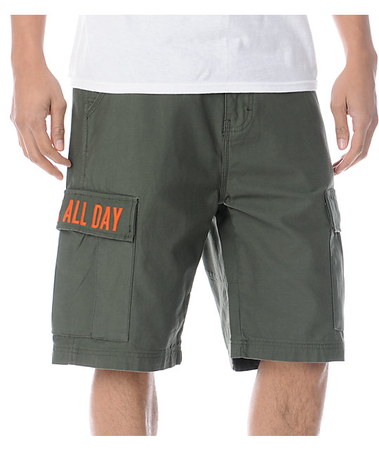 DGK Fat Tip Army Green Cargo Shorts
