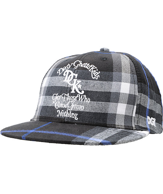 DGK From Nothing Black Plaid Snapback Hat