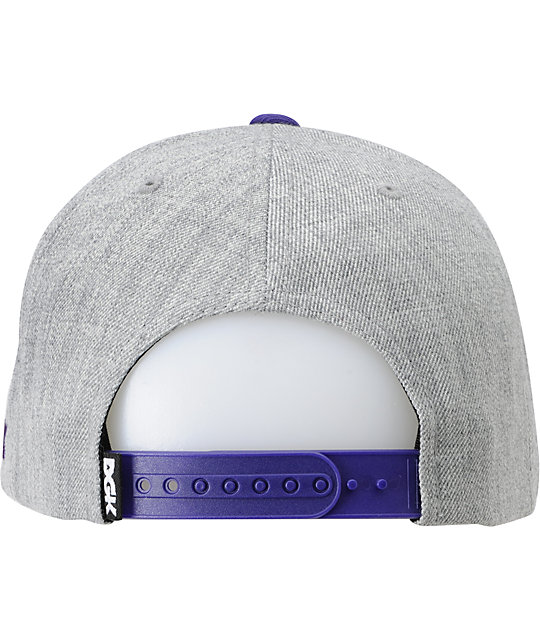 DGK From Nothing Heather Grey & Purple Snapback Hat