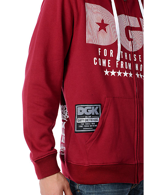 DGK From Nothing Red Zip Up Hoodie