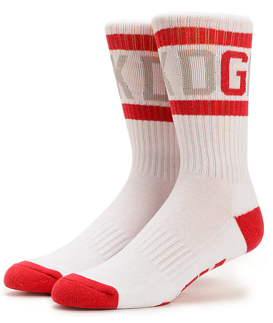 DGK G Crew White & Red Crew Socks