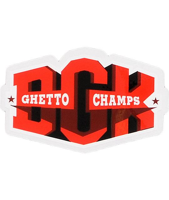 DGK Ghetto Champs Red & Black Sticker