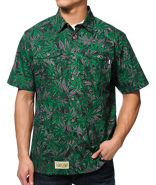 DGK Home Grown Green Short Sleeve Button Up Shirt