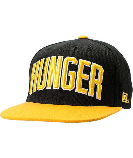 DGK Hunger Black & Yellow Snapback Hat
