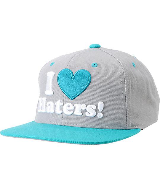 DGK I Love Haters Grey & Teal Snapback Hat
