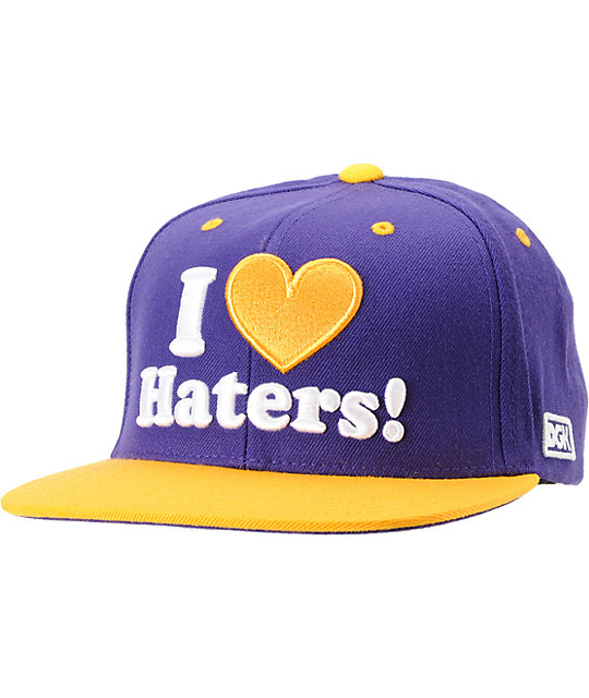 DGK I Love Haters Purple & Yellow Snapback Hat