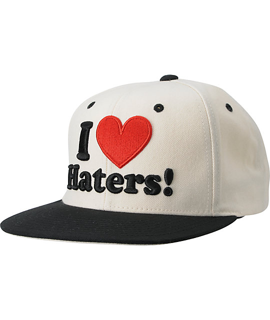 DGK I Love Haters White & Red Snapback Hat