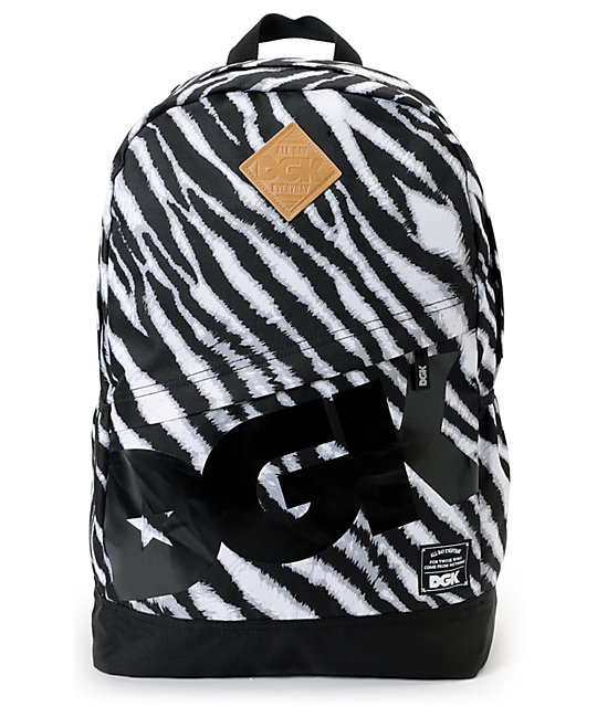 DGK Iconic Print Zebra Print Angle Laptop Backpack