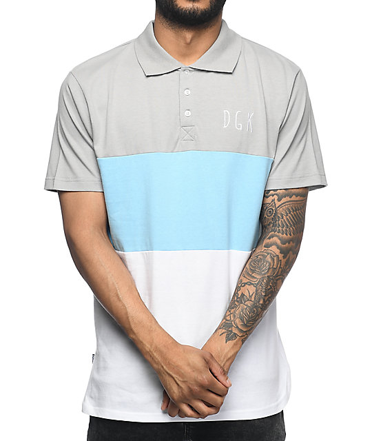 DGK Saturday Grey, Blue & White Polo Shirt