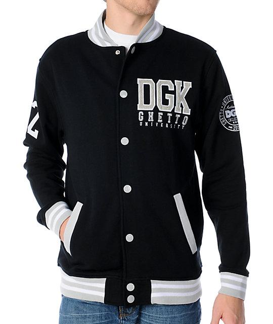 DGK Scholar Black Snap Up Varsity Fleece Jacket