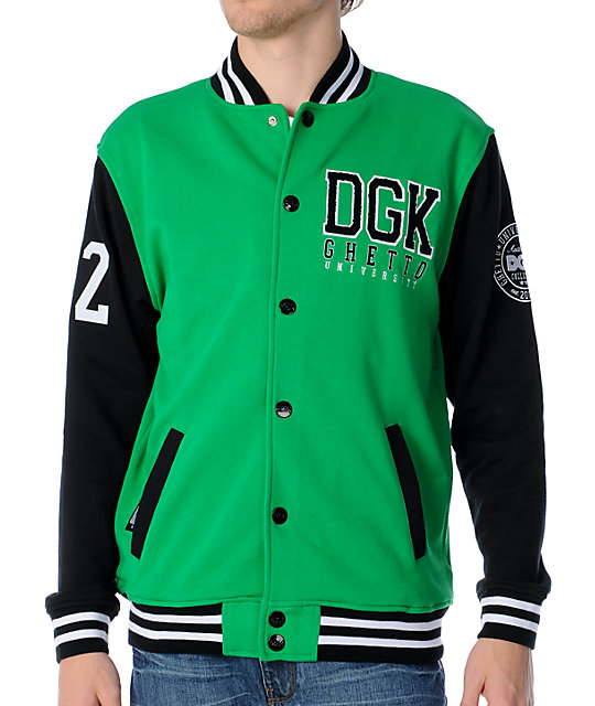 DGK Scholar Green Snap Up Fleece Varsity Jacket
