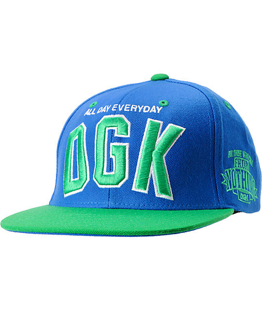 DGK Slogan Blue & Green Snapback Hat