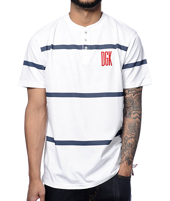 DGK Stadium White Henley T-Shirt
