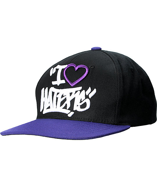 DGK Tag I Heart Haters Black & Purple Snapback Hat