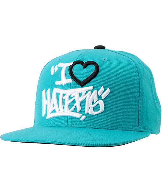 DGK Tag I Love Haters Teal Snapback Hat