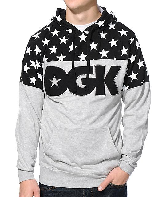 DGK Tycoon Black & Grey Long Sleeve Hooded Knit Shirt