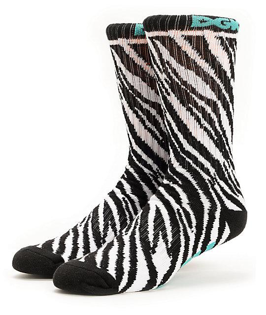 DGK Wild Style Zebra Print Crew Socks