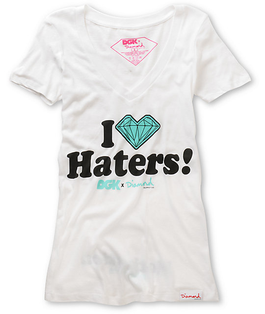 DGK x Diamond I Love Haters White V-Neck T-Shirt