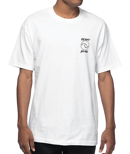 DROPOUT CLUB INTL. Heavy Slime Work Sucks White T-Shirt