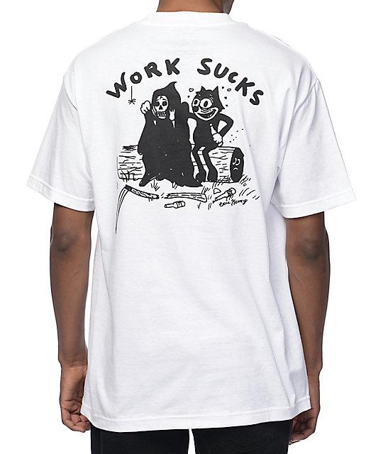 DROPOUT CLUB INTL. Heavy Slime Work Sucks White T-Shirt